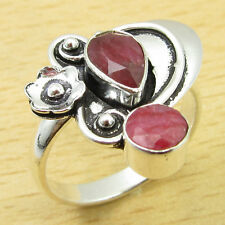 925 Sterling Silver Overlay Ring Size UK Q ! Classic RUBY Gift WHOLESALE PRICE