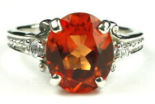 CLEMSON FANS! • SR136, Created Padparadsha Sapphire, Sterling Silver Ladies Ring