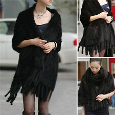 Real Knitted Mink Fur Stole Cape Long Shawl Womens Best Coming Coat Black Shawl