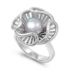Women 13mm 925 Silver Freshwater Cultured Pearl Ladies Vintage Style Ring Band