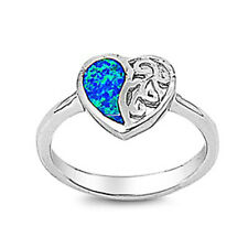 Women 11mm 925 Sterling Silver Blue Opal Filigree Heart Vintage Style Ring Band