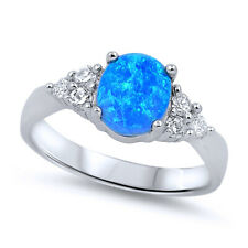 Women 8mm 925 Sterling Silver Oval Blue Opal Ladies Vintage Style Ring Band
