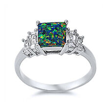 Women 8mm 925 Silver Black Opal Radiant Cut CZ 5 Stone Vintage Style Ring Band