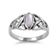 Women 9mm Sterling Silver Cultured Mother Pearl Celtic Vintage Style Ring Band