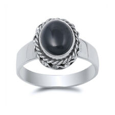 Women 14mm 925 Sterling Silver Oval Black Onyx Cocktail Vintage Style Ring Band