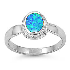 Women 10mm 925 Sterling Silver Blue Opal Ladies Vintage Style Ring Band