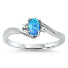 Women 6mm 925 Sterling Silver Blue Opal White CZ Ladies Vintage Style Ring Band