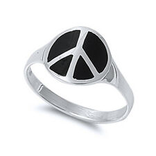 Men Women 13mm 925 Sterling Silver Black Onyx Peace Sign Vintage Style Ring Band