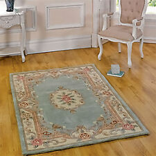 Modern Traditional Hand Carved Carpet Rug with Floral Pattern 100% Wool - Green