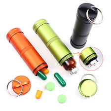 New Waterproof Aluminum Pill Box Case Bottle Holder Container Keychain Keyring