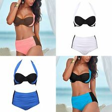 Sexy Bikini Set Bikini Swimsuit High Waist Bathing Swim Halter PushUp Suit Women