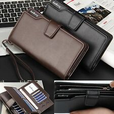 PU Leather Wallet Bifold ID Card Holder Purse Checkbook Long Clutch Billfold JF