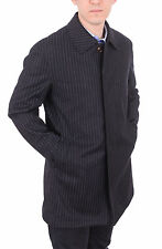 Mens Classic Fit Navy Blue Pinstriped Wool Topcoat Overcoat