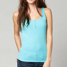 Fox Racing Miss Clean Womens Henley Tank Top Iced/Blue
