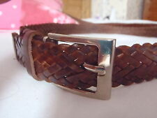 FULLY ADJUSTABLE PLATTED LEATHER BELT * BROWN * CHROME BUCKLE