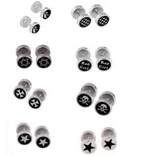 Round Barbell Stainless Steel Men's Earring Punksteam Ear Studs Ornaments