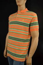 Ralph Lauren Classic Fit Peach Multi-Colored Stripe Mesh Polo Shirt/ Pony-NWT