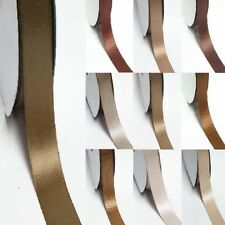 "5 Yards Double Sided Discount Satin Ribbon 3/8"" /9mm Ivory to Brown"
