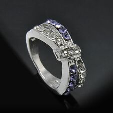 Purple Amethyst Criss Cross New White Gold Filled Jewelry 6-10 Size Ring Rings