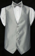 Silver Grey Jean Yves Fullback Tuxedo Vest & Choice of Tie Formal Wedding Prom