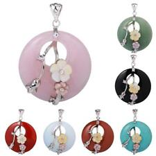 40mm Fashion Charm Round Natural Gemstone Circle Bead Pendant for Necklace Chain