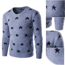 Casual Men Five Point Star Sweater Trendy Round Neck Slim Knitted Shirt PY