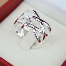 925 Silver Plated Ring Gift Weave Rings Size 6 7 8 9 10 New Charm Women Jewelry