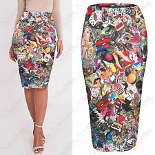 NEW WOMENS BODYCON COMIC CARTOON PRINT STRETCH PENCIL SKIRTS LADIES LONG SKIRT