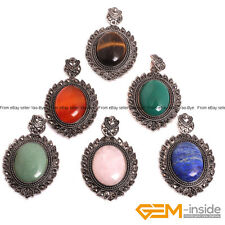 "Oval Gemstone Reiki Healing Pendant Long Fashion Jewelry Necklace 18"" Yao-Bye"