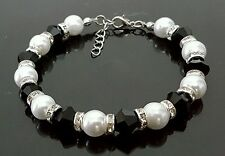 Wedding Bracelet White Glass Pearl With Diamante & Black Bicone Bead Bridesmaid