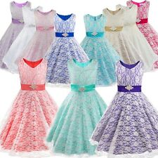 Lace Flower Communion Party Prom Princess Pageant Bridesmaid Wedding Girls Dress