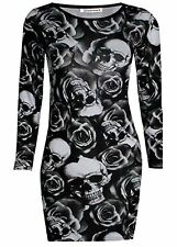 New Womens Long Sleeve Skull Rose Printed Stretchy Tunic Bodycon Mini Dress Top