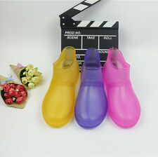 New Fashion Women's Transparent Ankle Rain Boots skidproof Flat galoshes Shoes