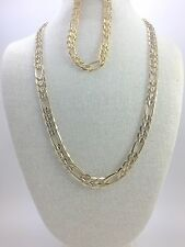 "Figaro Link Chain Set, Texturized, Gold Plated, 24"" or 30 Inches, 9"" Bracelet"