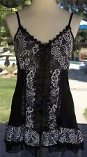 Black & White Lacy Macramé Trim Lace Up Pretty Angel Cami Shirt Sz. S, M, L, XL