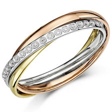 9ct 3 Colour Gold Diamond Cut Effect Russian Style Wedding 4mm Ring