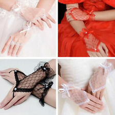 Sexy Lace Wrist Fingerless Wedding Bridal Evening Party Short Gloves Dress Bow