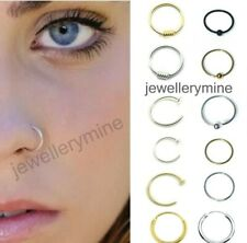Sterling Silver Nose Ring Hoop 8mm 10mm Small Thin Piercing Stud Body Jewellery