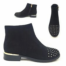 LADIES GIRLS FAUX SUEDE LOOK BLACK FLAT HEEL ANKLE BOOTS WITH GOLD STUD DETAIL