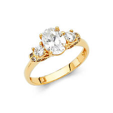 1.50 CT Engagement Ring Round Oval Cut 14k Lab Diamond Yellow Gold Bridal Band