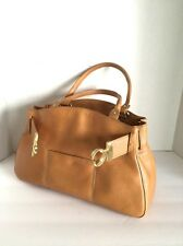 New Cole Haan Camel Saddle Leather Tote Satchel Top Handle Brushed Gold Circle