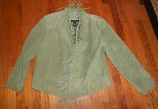 Womens Dialogue Light Green Suede Fringed Jacket Ladies XL