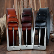 Mens Genuine Leather Cowhide Vintage Classic Jean Pin Buckle Casual Belts