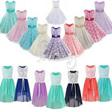 Princess Pageant Flower Girl Birthday Wedding Formal Party Gown Formal Kid Dress