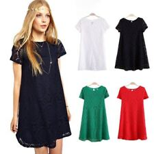 Casual Lace Crochet Dress Short Sleeve Mini Dress Cocktail Evening Party Women