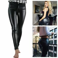 Women PU Leather Skinny Trousers Tight Leggings Stretchy Low Waist Pencil Pants