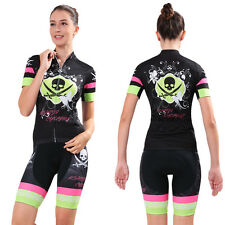 Women Bike Padded Wear Bicycle Set Short Sleeve Cycling Sport Jersey Shorts Suit