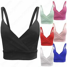 NEW LADIES CROSS WRAP OVER FRONT STRAPPY CROP BRALET TOPS WOMENS SHORT VESTS