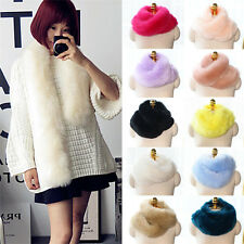Faux Fox Rabbit Fur Neck Long Scarf Collar Shawl Wrap Chic Trendy Scarves Stole