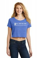 Yes They're Fake Real Tried Kill Me Breast Cancer Awareness Ladies Crop Top Z7